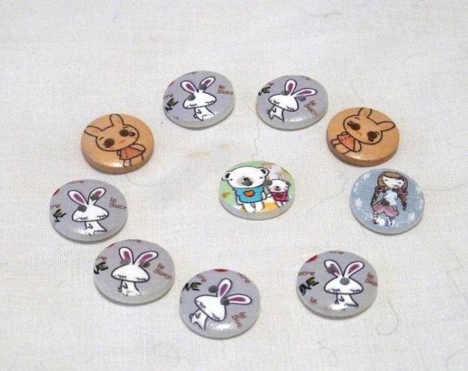 Buttons Little Girl Bunnies Bear  set of 10 / M21