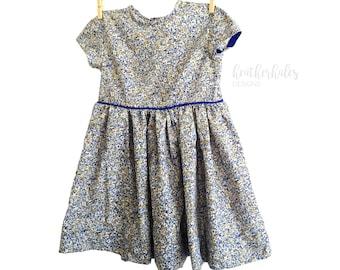 Little Girls Blue Floral Voile Dress