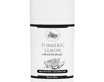 Turmeric - Lemon Natural Deodorant with No Aluminum, Underarm Brightening, 100% Natural, No Cornstarch, Underarm Deodorant Stick