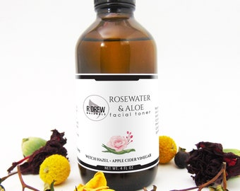 Rosewater and Aloe Vera Natural Face Toner, Great for all skin types, Apple Cider Vinegar, Acne Treatment, Pore Minimizer