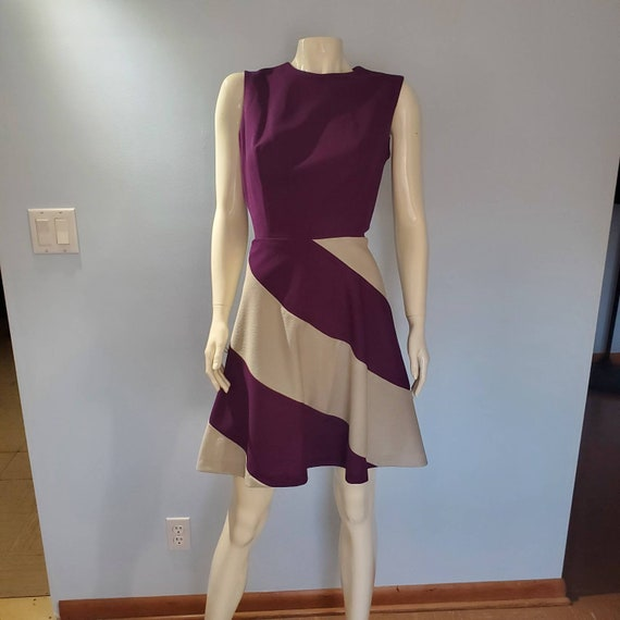 Purple and White Swirl Vintage Dress - Size Medium