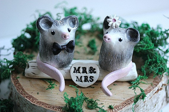 Opossums Taart Topper Possum Wedding Cake Topper Clay Etsy