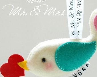 Unique Personalized Mr and Mrs Conversation Birds Keepsake - unique bridal weddings gifts