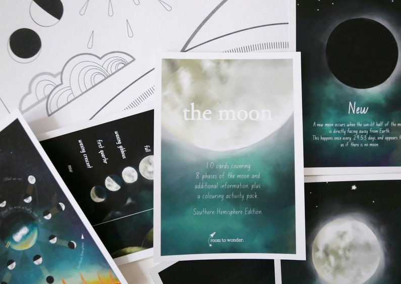Printable Flashcards - moon phases of the Southern Hemisphere  Printable  homeschool / learning resources