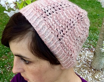 KNITTING PATTERN, PDF - Blossom Cap - Hat Beanie Toque Lace Spring