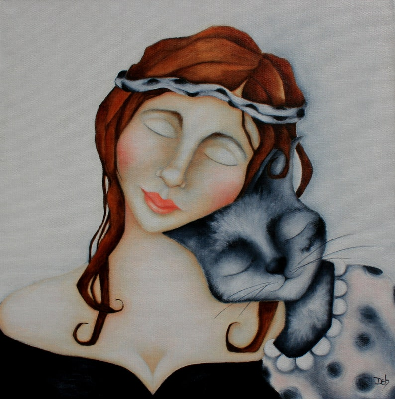 Woman Cat Print on wood  Pet portrait artwork gift for her image 0