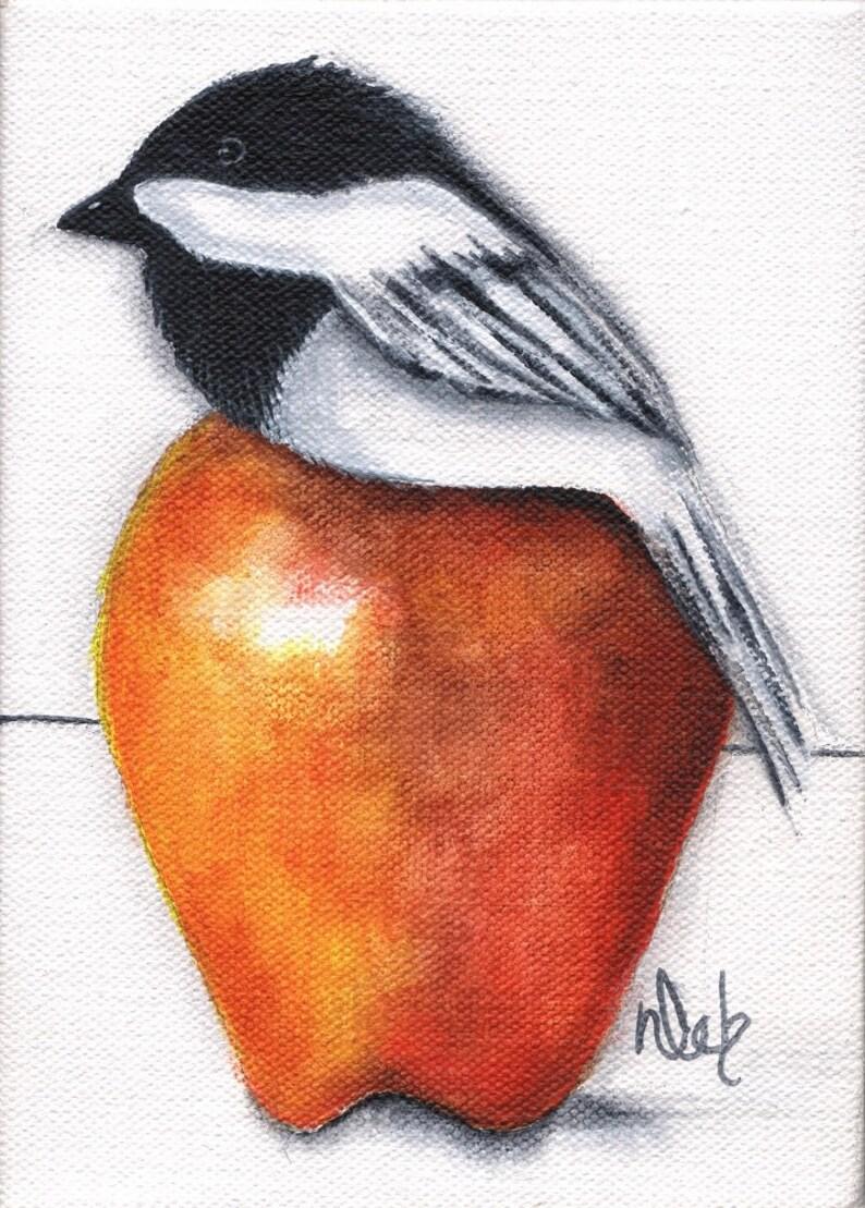 Chickadee Bird Apple Print on wood 3.5 X 5 reproduction image 0