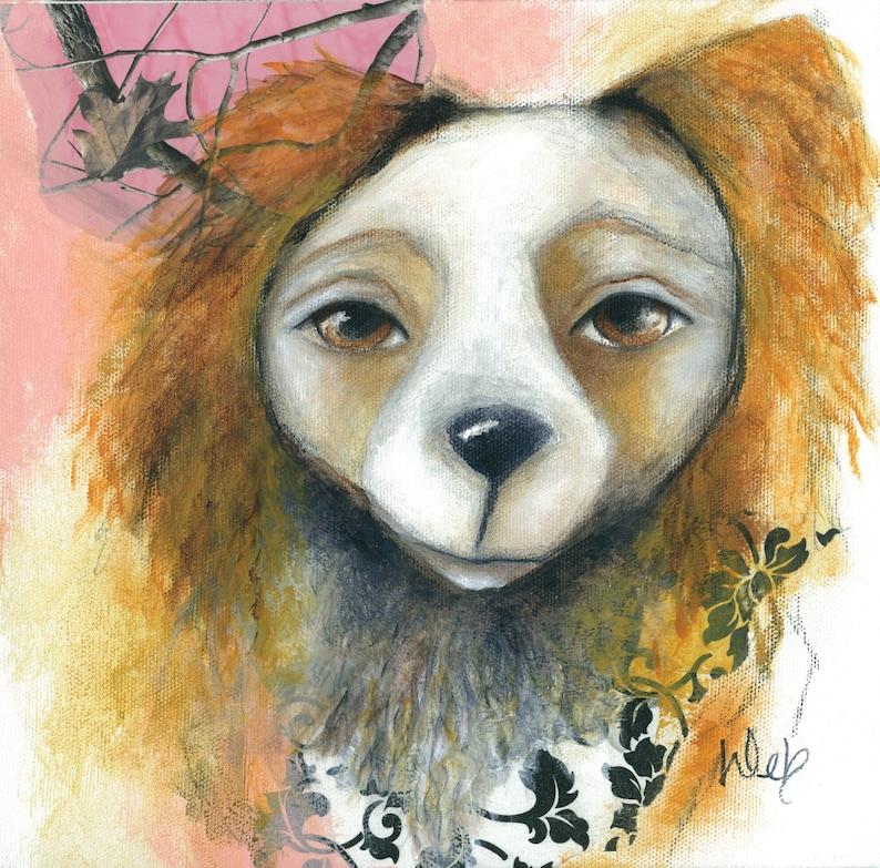 Dog Spaniel original mixed media painting Pinkie 10x10 art on image 0