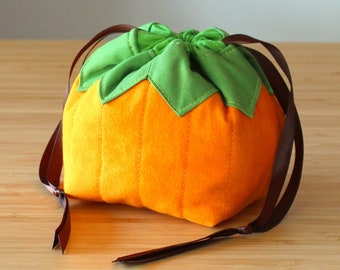 Pumpkin Named Pouchy Pattern - PRINT Version - drawstring bag pattern, omiyage, sewing, fabric, food, foodie gift, gourd