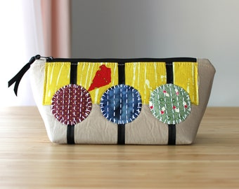 3 Circles Applique Bag - sashiko, kantha, fabric, handmade, handstitched, travel, toiletry, cosmetic, purse, embroidery, zippered