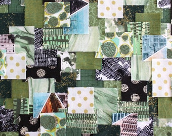 Patchwork Sashiko Kit - River Moss - Choose from 3 sizes, green, craft kit, sewing, kit, diy, embroidery, kantha, boro, hand stitch