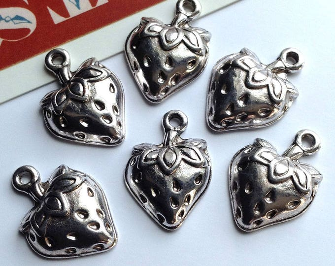 5 silver tone Strawberry charms 20x15mm