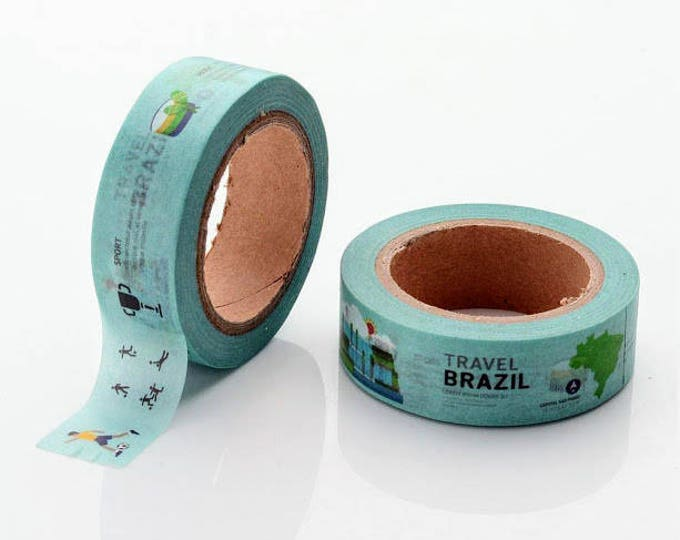 10m roll Brazil Washi Tape 15mm wide Brazilian holiday/vacation/travel themed adhesive crafts tape for stationery, journals, scrapbooking