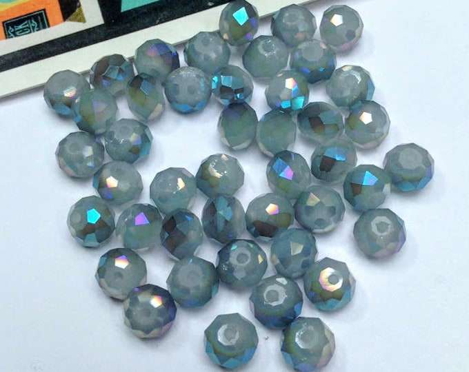 15 grey / blue glass faceted beads 7x6mm