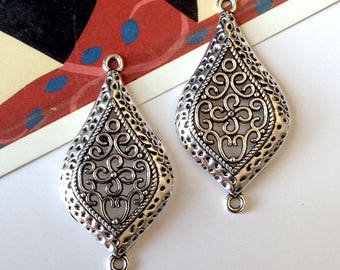 2 Silver Tone Filigree Bohemian Connector Charms 46mm x 24mm