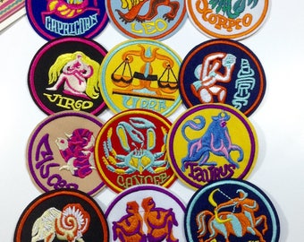 Zodiac Iron on Patch 70mm vintage / star sign
