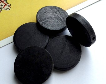 Bulk Lot 25 Large Black Wooden Disc Beads 25mm Hinoki Wood flat spacer beads for necklace making