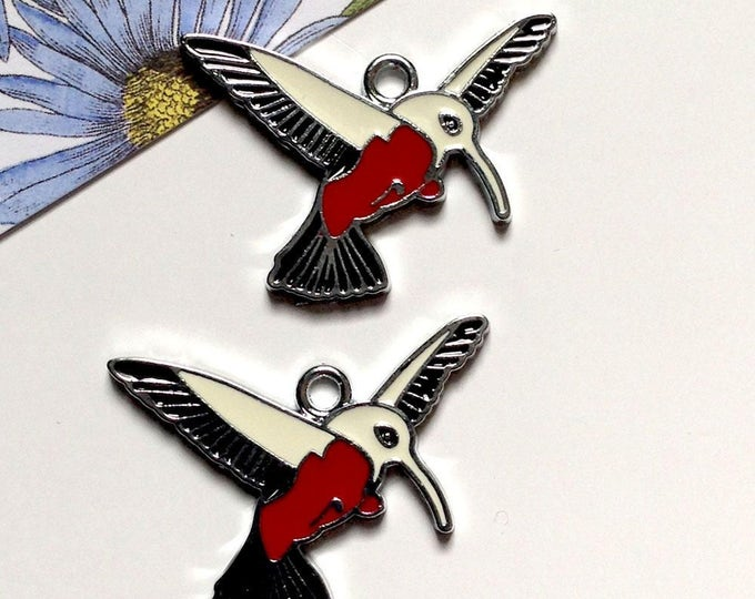 2 hummingbird charms 32x32mm enamel red/white/silver tone bird of paradise charms