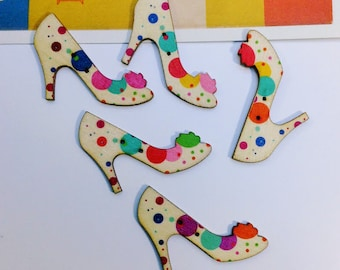5 Polka Dot Shoes Buttons 46x32mm wooden shoe buttons for sewing, crafts, scrapbooking