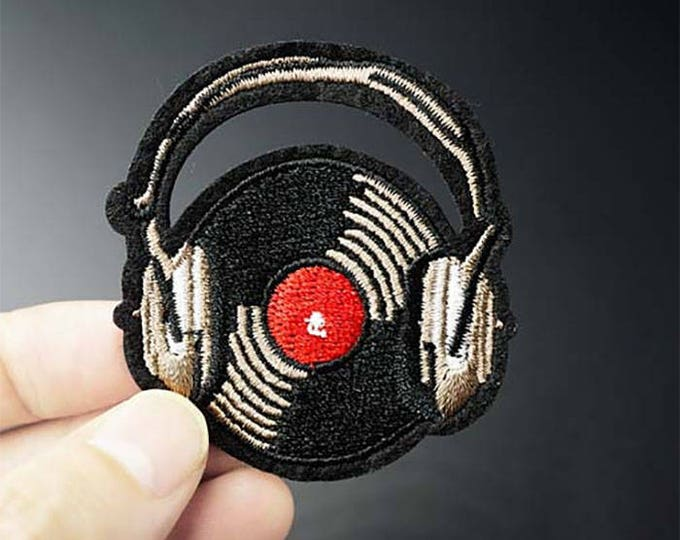 Vinyl Record with Headphones iron on patch 52 x 58mm DJ Music embroidered badge for jackets, bags, jeans etc.