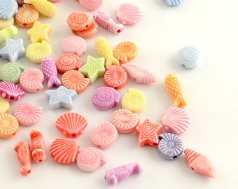 25 Plastic Seaside Beads Mix for Nautical themed jewelry / crafts projects + bulk lots