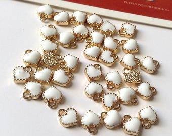 Bulk Lot 50 White Enamel mini Heart Charms 8x7mm