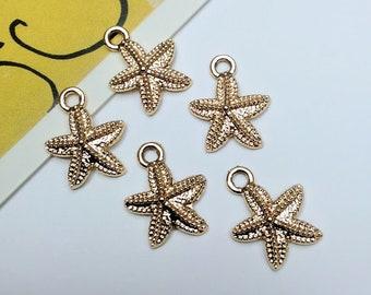 5 gold tone Starfish charms 15x12mm