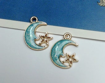 2 Pale Blue & Gold Crescent Moon + Star Charms 21x15mm