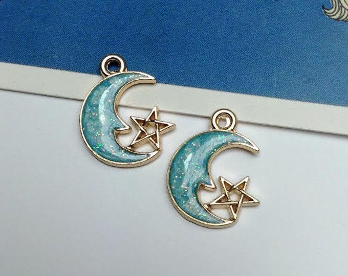 2 Pale Blue & Gold Crescent Moon + Star Charms 21x15mm boho style crescent moon pendants, bohemian charms, mystical pendants