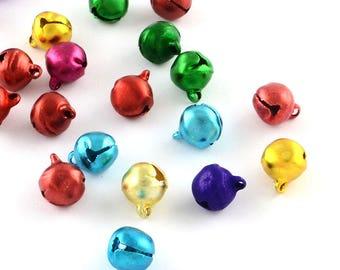 25 Mini Bell Charms 9x8mm boho bells, mini bohemian trinkets, colour mix