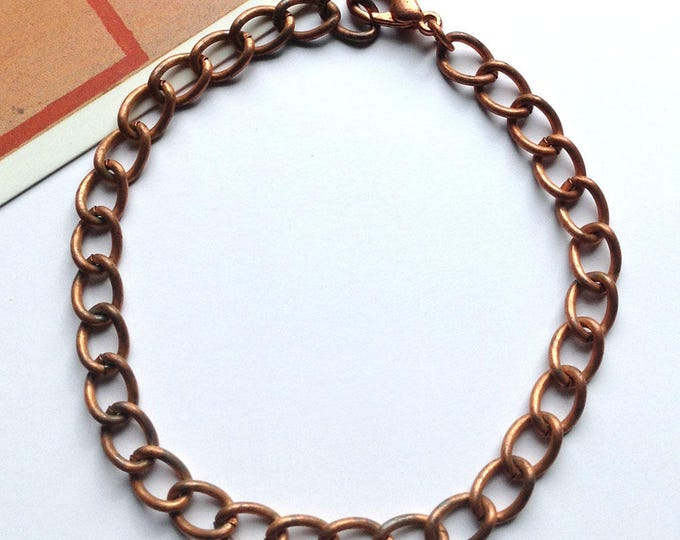 """Vintage copper 7"""" bracelet chain 23cm USA made, large links with lobster claw for making charm bracelets"""