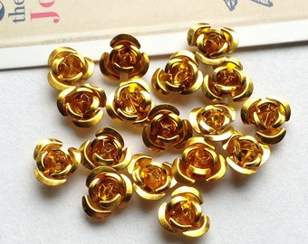 30 Gold metal rose beads 11mm metallic aluminium flowers