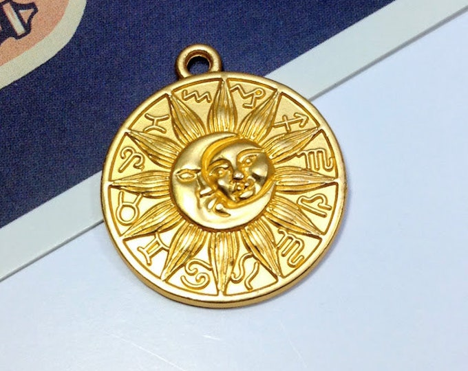 Gold Sun & Moon Zodiac Medal Charm 29x25mm