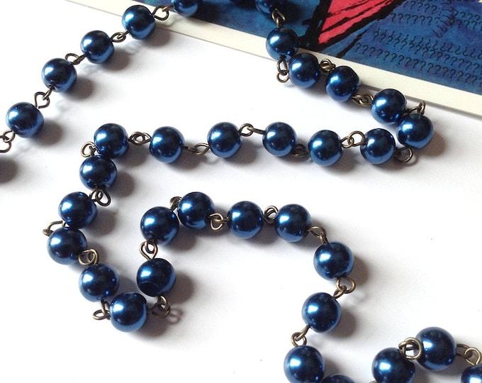 Prussian Blue 8mm glass bead chain, 1 metre long