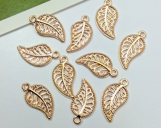 10 Gold Plated Mini Leaf Charms 14x8mm small filigree leaves for earrings, bracelets etc.