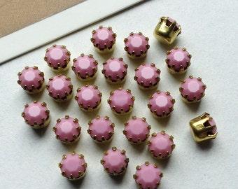 12 vintage Pale Pink stones 17ss 4mm round opaque brass set stones, 1960s