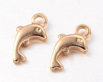 5 gold tone brass dolphin charms 12x6mm