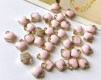 10 Pale Pink mini Enamel Heart Charms 8x7mm