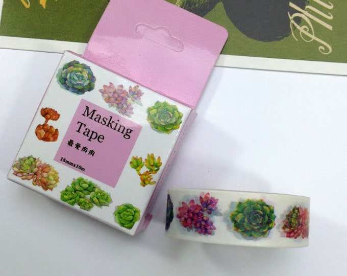 10m roll Succulent Plants Washi Tape 15mm wide, botanical / pot plants adhesive crafts tape for decoration & packaging