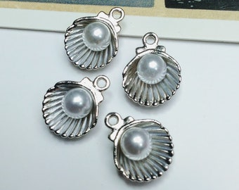 4 Silver Shell with pearl charms 15x12mm oyster shell charms, pretty nautical / beach trinkets