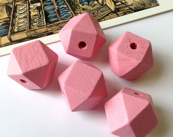 5 Rose Pink Wooden Geometric / Polygon Beads 20mm