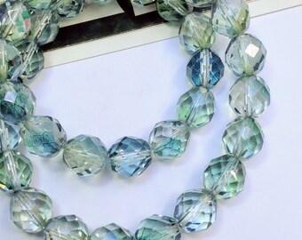 10 Blue / Green Czech Glass faceted beads 12mm