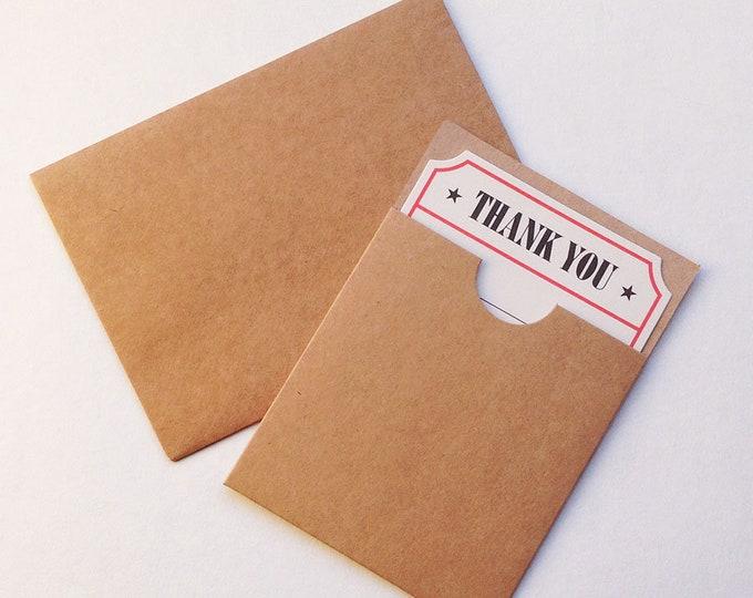 3pc Vintage Style Thank You notecard in pocket & kraft Envelope