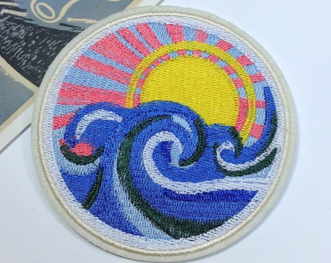 Large Japanese Wave Iron on patch 90mm sunrise embroidered badge for denim jackets, bags, jeans etc.
