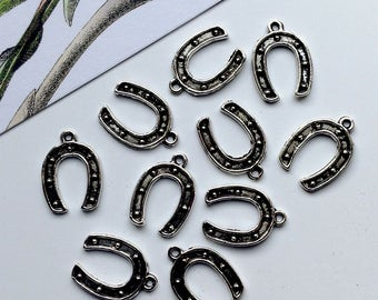 Bulk Lot 50/100 Small Antiqued Silver Metal Lucky Horseshoe Charms 15x11mm