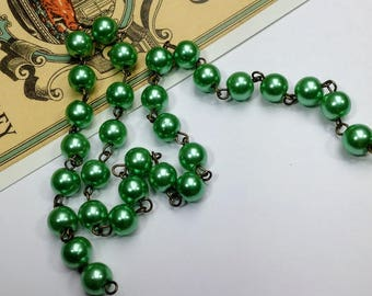 Sage Green 8mm Glass Pearl bead chain, 1 metre