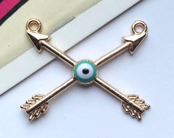 Gold Plated Evil Eye Arrows Connector Charm 29x23mm