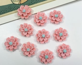 10 Baby Pink flower cabochons 12mm