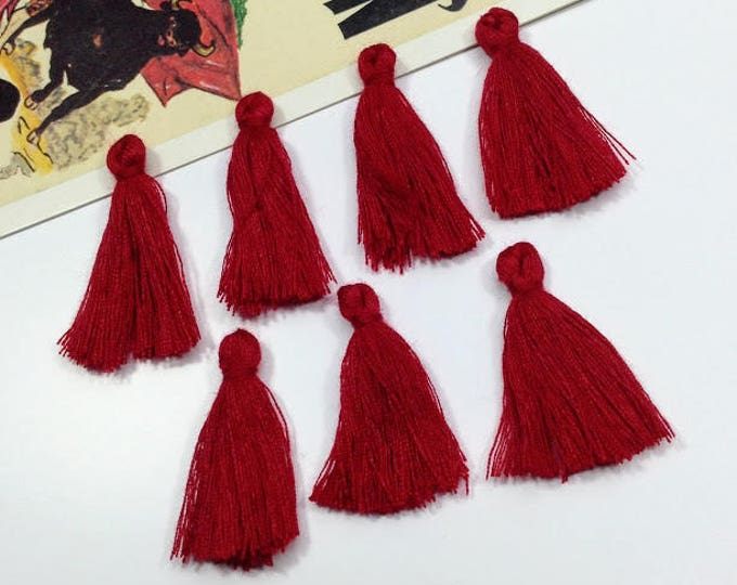 10 mini deep red / wine tassels 25mm