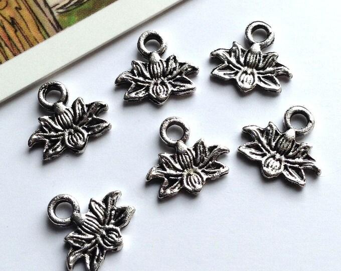 10 mini Lotus Flower charms 10mm silver tone tiny boho trinkets, yoga / bohemian jewelry making